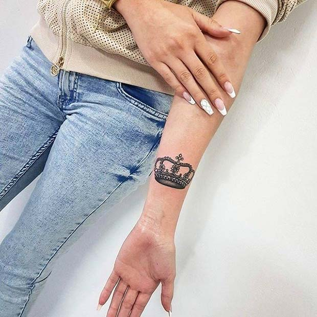 Trendy Crown Arm Tattoo Idea for Women
