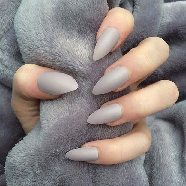 Chic Grey Matte Nails