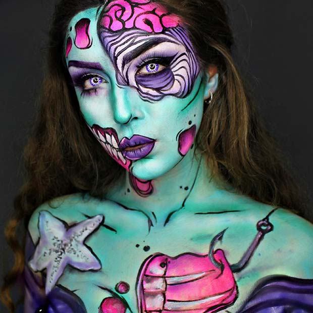 Pop Art Mermaid Halloween Makeup