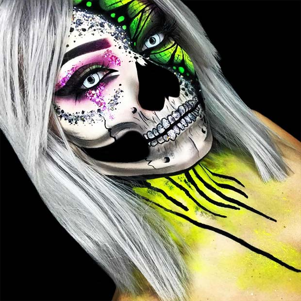 Toxic Butterfly Skull Halloween Makeup