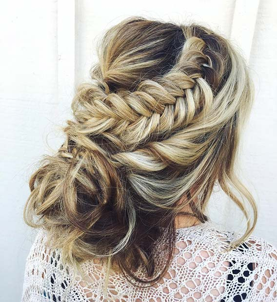 Loose Updo with Fishtail Braid
