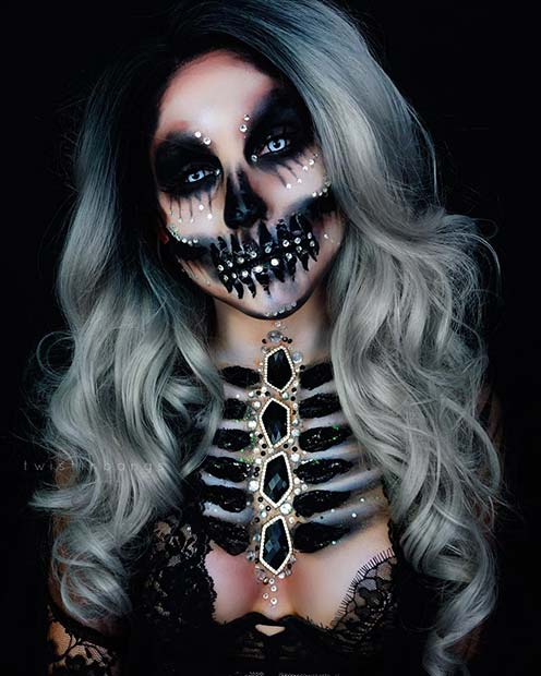 Bejeweled Skeleton Halloween Makeup