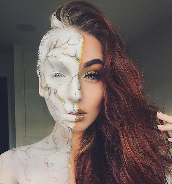 Creative Marble Statue Halloween Makeup