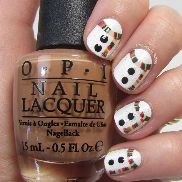 29 festive christmas nail art ideas crazyforus 2 snowman nail idea prinsesfo Images