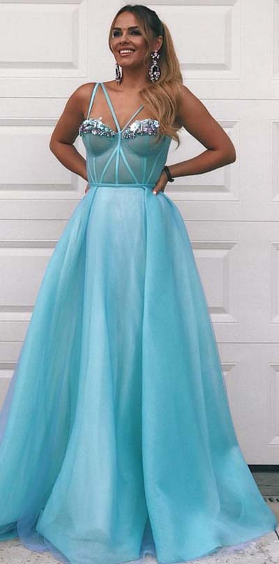 Beautiful Princess Blue Prom Dress