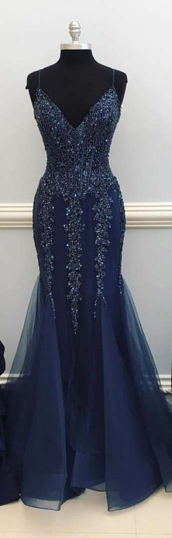 Gorgeous Navy Blue Prom Dress