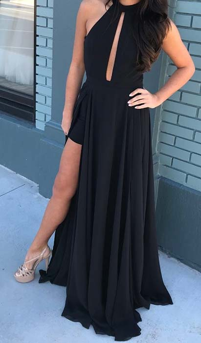 Black Side Split Prom Dress