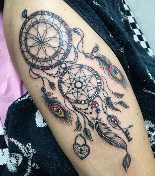 Dream Catcher Tattoo with Peacock Feathers
