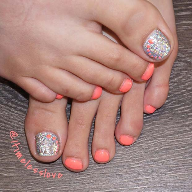 Elegant Spring and Summer Toe Nail Design