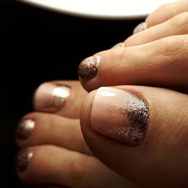 Pink and Glitter Toe Nail Design