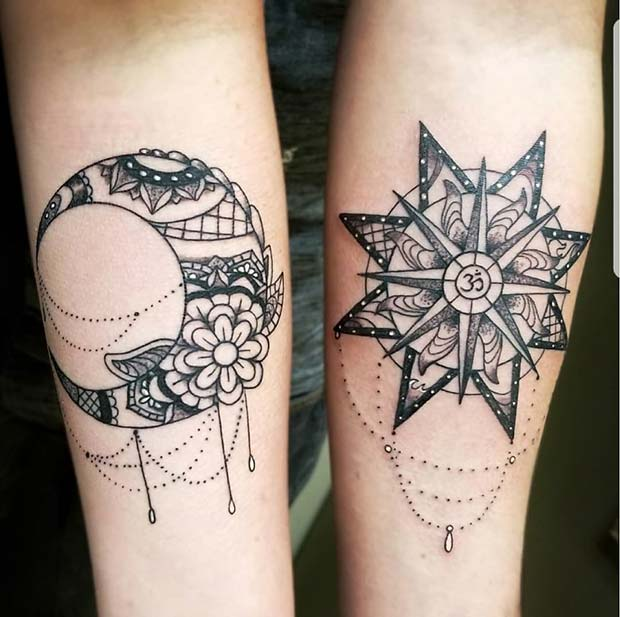 Beautiful Sun and Moon Best Friends Tattoos