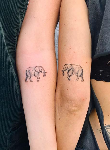 Best Friend Elephant Tattoo Idea