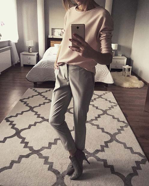 Light Top and Grey Tailored Trousers for Work