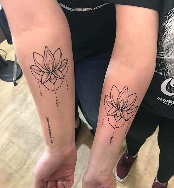 Matching Best Friend Lotus Tattoo Idea