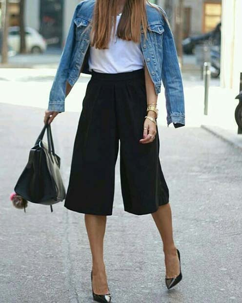Trendy Black Culottes Outfit Idea for Work
