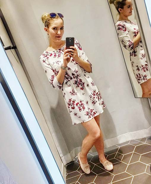 Dress with Red and Pink Floral Print
