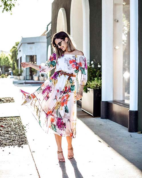 Floral Dress and Belt Outfit Idea