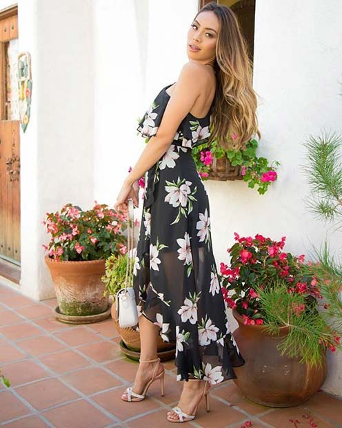 Glam Black Dress with Floral Print
