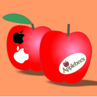 apples with logos for Apple and Applebee's