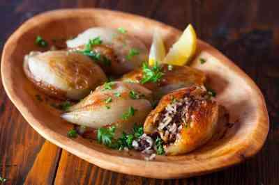 Lebanese Roasted Stuffed Onions • Steamy Kitchen Recipes