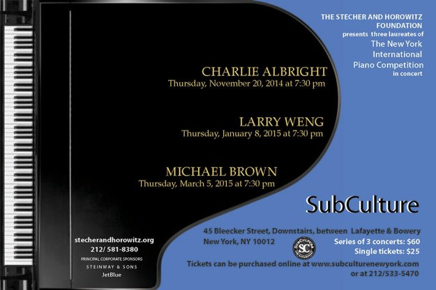 Our 2014-15 Young Artist Series at Subculture features 3 Laureates of the New York International Piano Competition