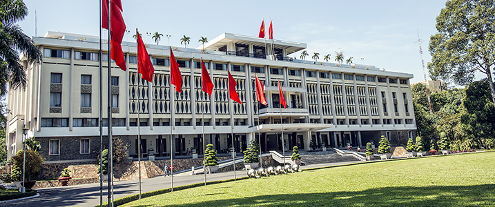 Exterior shot of Ho Chi Minh City's Reunification Palace