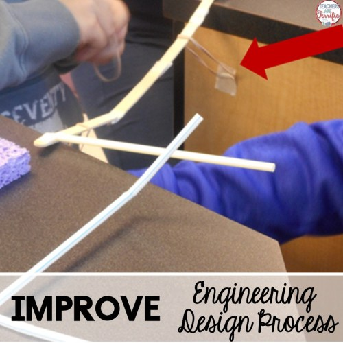 The Engineering Design Process step 5 is the Improve step. This is a natural step during which changes are made to a structure. When kids see that something doesn't work, they fix it!