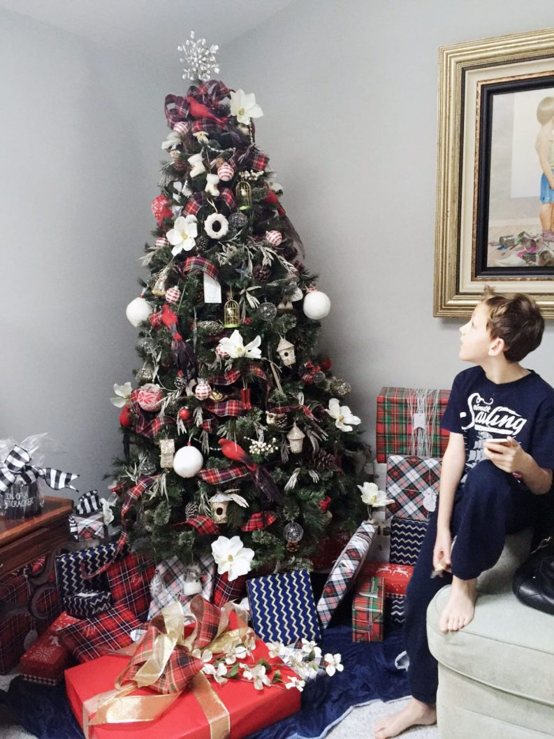 Plaid Tartan Christmas Tree Theme with coordinating gift wrap