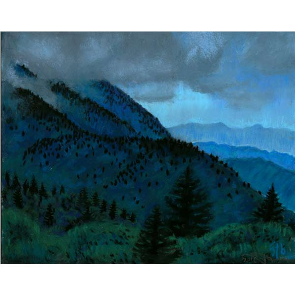 Storm at Dusk, a pastel painting by Stephanie Thomas Berry from her Blue Ridge Parkway Series