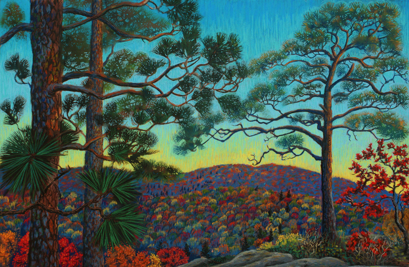 Dusk on the Escarpment, a pastel painting by Stephanie Thomas Berry featuring pines in a sunset from the Porcupine Mountains Escarpment