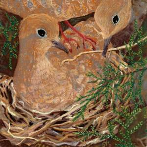 Mourning Doves Nesting in a Cedar, a pastel by Stephanie Thomas Berry featuring a female mourning dove building a nest as the male brings her twigs