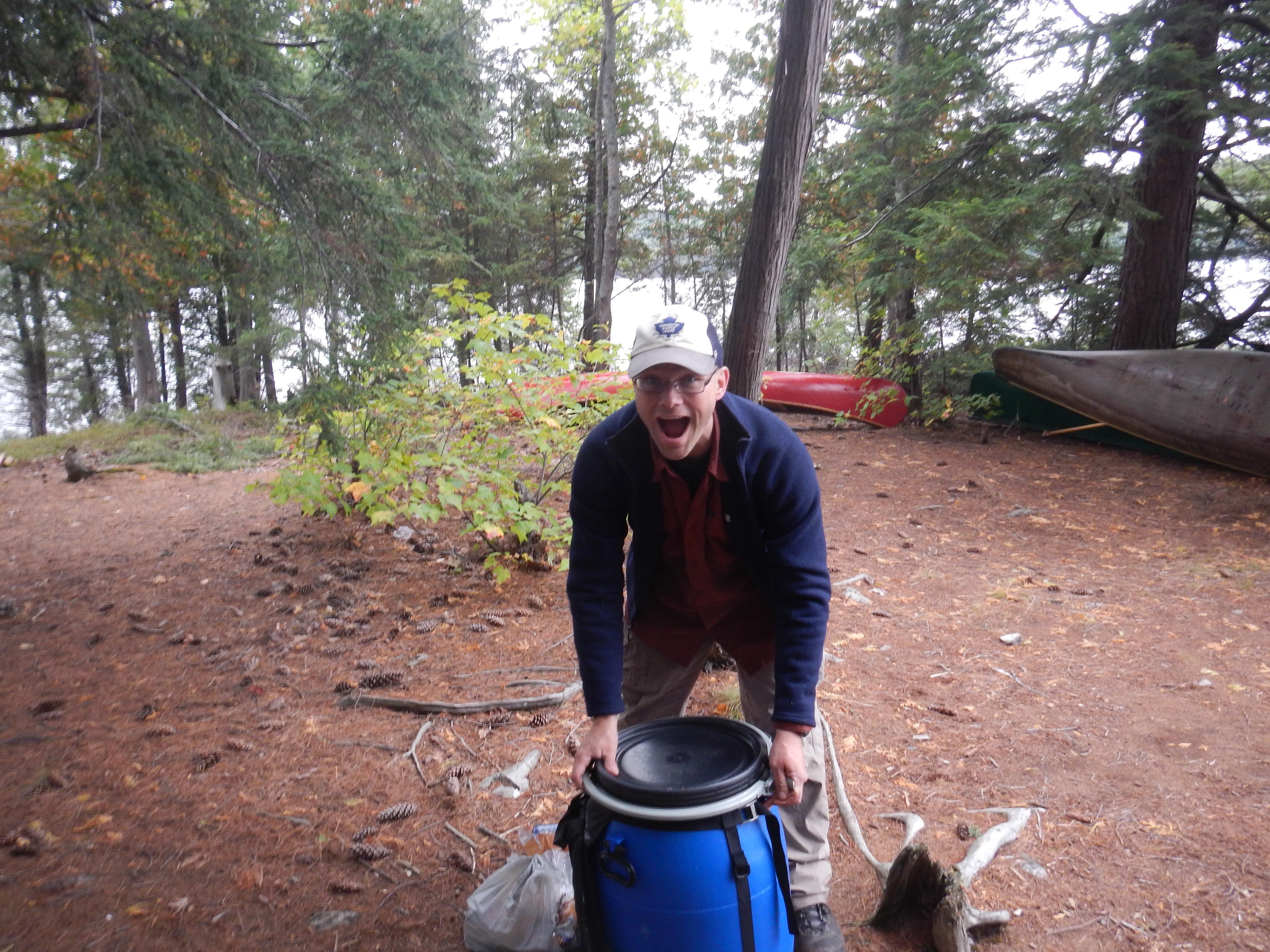 The good ol' food barrel on our David Lake campsite.