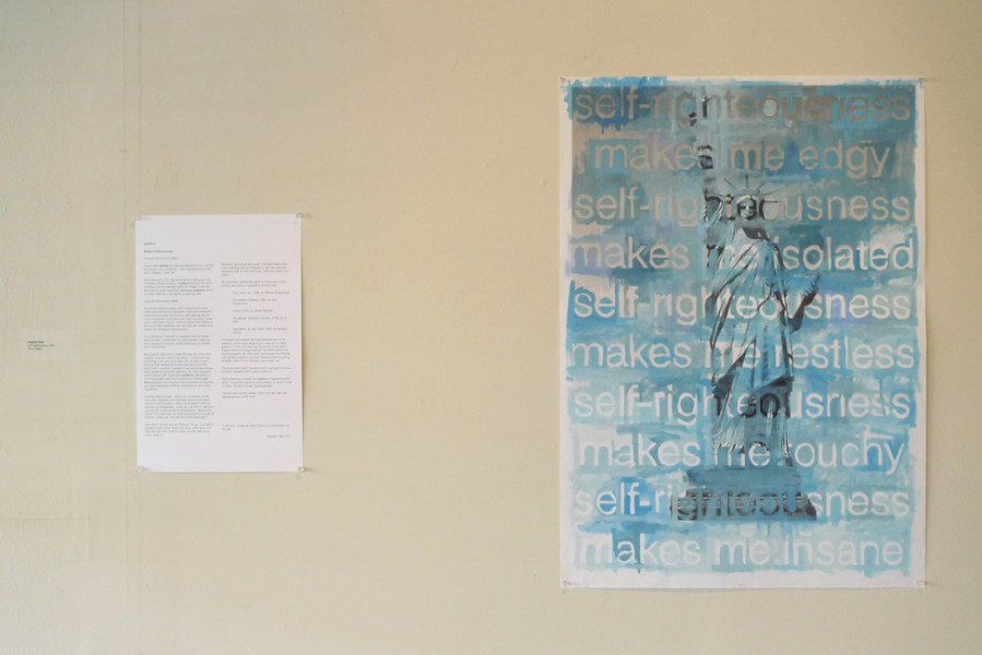 "self-righteousness, 2011, oil on printed paper. Installed with ""notes on the process""."