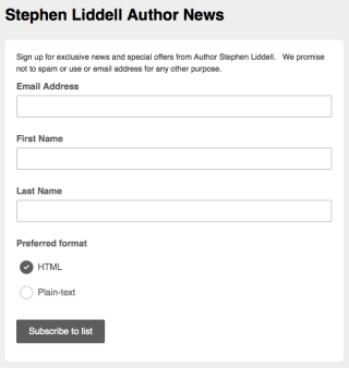 Sign up for exclusive news & offers from Author Stephen Liddell
