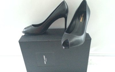 SAINT LAURENT PARIS 80 ESCARPIN PEEP TOE SHOE IN BLACK LEATHER SIZE 39