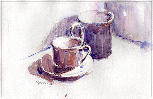 Watercolor Study: Two Coffee Cups