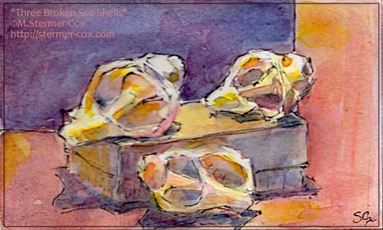 Three Broken Sea Shells; #WorldWatercolorMonth