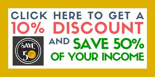 save 50 percent of your income discount