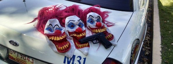 October 9, 2016 - Albuquereque, New Mexico, U.S. - 100916.Gun and Masks worn by 3 clowns involved possible robbery .Photographed on Sunday October 9, 2016. Albuquereque U.S. PUBLICATIONxINxGERxSUIxAUTxONLY - ZUMAab1_October 9 2016 Albuquereque New Mexico U S 100916 Gun and masks worn by 3 Clowns involved possible Robbery photographed ON Sunday October 9 2016 Albuquereque U S PUBLICATIONxINxGERxSUIxAUTxONLY ZUMAab1_