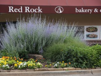 Downtown Stillwater, the corner of 7th and Main features a gorgeous planted flower bed.