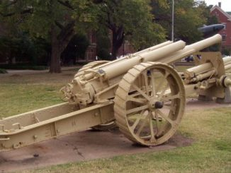 Thatcher Hall's front lawn includes a British Breech Loading 60-pounder Mack I, one of 60 made for the U.S. Army for testing as well as a 4.7-inch Gun Model 1906, another testing cannon.