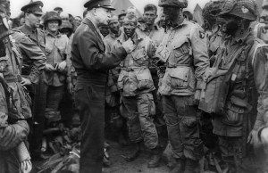 Eisenhower speaking to the 101st Airborne on June 5th, the day before D-Day. The 101st would jump behind enemy lines the night before the invasion.