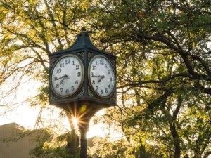 Clock in St. Johns Plaza, Portland, Oregon