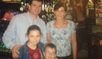 Brendan and Deirdre Clunky with two of their three children in 2004