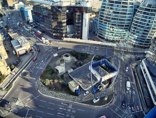 The Old Street Roundabout in East London, synonymous with London's tech and startup scene