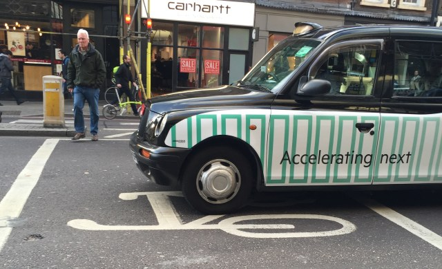 Taxi on a cyclist box designed to give cyclists a head start in junctions so motorists don't turn onto them. Photo credit: Valerie Browne