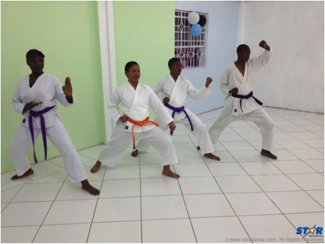 Young karatekas demonstrating their skills at the Zanshin Karate Dojo to earn their new belt colours at the recent ceremony.