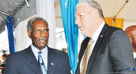 Past and future prime ministers?: Vaughan Lewis, the government's foreign policy advisor, with recently elected UWP leader turned whistle-blower Allen Chastanet, at the unveiling of Sir John's statue in Constitution Park.