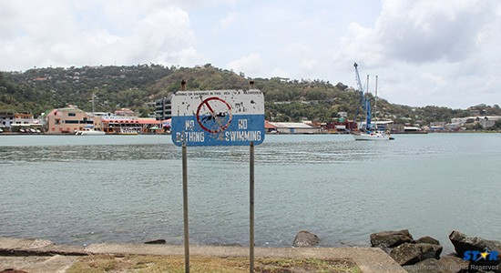 An especially contaminated section of the Castries harbor,  with its altogether misleading warning sign—set up 27 years ago!
