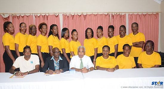 The St Lucia National Team pictured with officials (seated) after being introduced to the media at a press conference here.